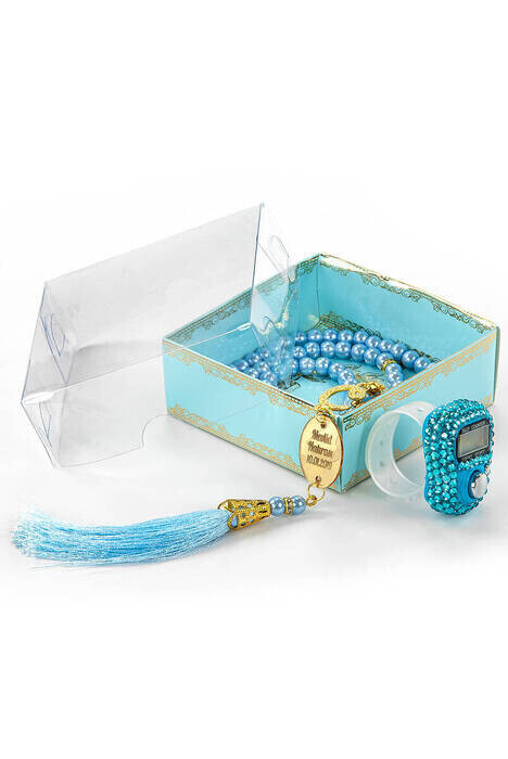 Personalized Plexi Pearl Rosary with Zikirmatik Mevlid Gift Set - Blue Color