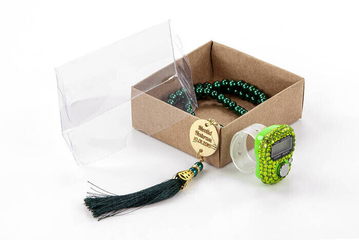 Personalized Plexi Pearl Rosary with Zikirmatik Mevlid Gift Set - Green Color