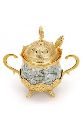 İhvan - Porselenli Yuvarlak Kaşıklı Şekerlik Gri Desenli Gold Renk