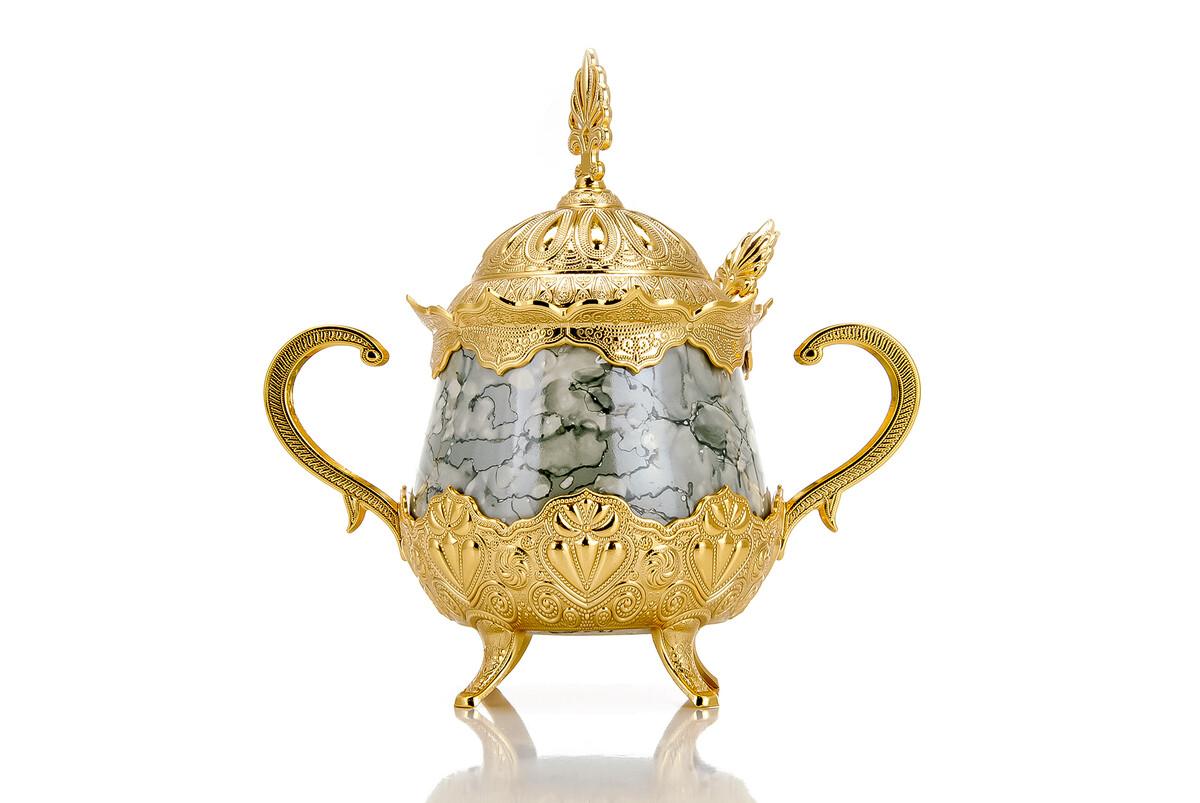 Porselenli Yuvarlak Kaşıklı Şekerlik Gri Desenli Gold Renk
