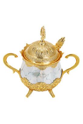 İhvan - Porselenli Yuvarlak Kaşıklı Şekerlik Mavi Desenli Gold Renk