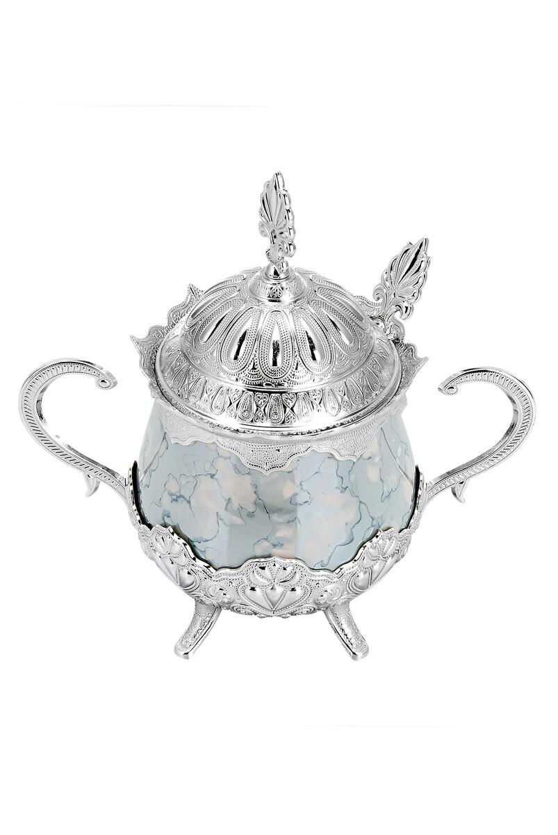 Porselenli Yuvarlak Kaşıklı Şekerlik Mavi Desenli Gümüş Renk