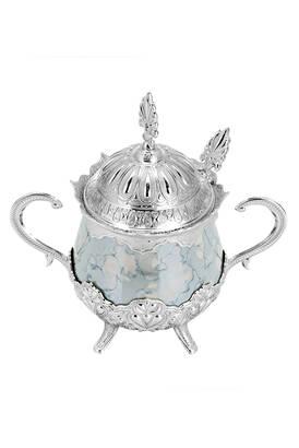 İhvan - Porselenli Yuvarlak Kaşıklı Şekerlik Mavi Desenli Gümüş Renk