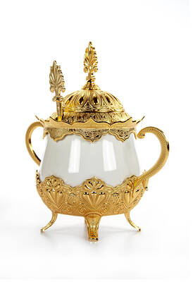 İhvan - Porselenli Yuvarlak Kaşıklı Şekerlik Sedef Düz Gold Renk