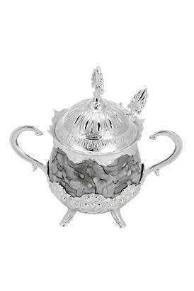 İhvan - Porselenli Yuvarlak Kaşıklı Şekerlik Gri Desenli Gümüş Renk