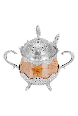 İhvan - Porselenli Yuvarlak Kaşıklı Şekerlik Turuncu Desenli Gümüş Renk