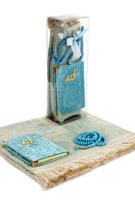 İhvan - PVC Kutulu Seccade Seti - Kadife Kaplı Yasin - Seccade - Tesbih - Mavi Renk