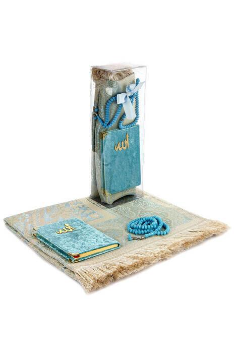 PVC Kutulu Seccade Seti - Kadife Kaplı Yasin - Seccade - Tesbih - Mavi Renk