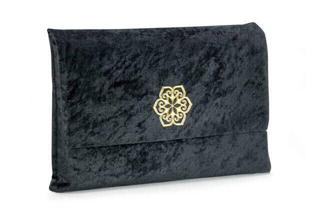 Quran - Kaaba Patterned - Plain Arabic - Velvet Marsupian - Medium Size - Computer Lined