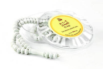 İhvan - Rose Scented Rosary - Esmaül Hüsna Printed - With Box - White - Mevlid Gift