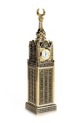 İhvan - Saatli Kabe Zemzem Tower Minyatür Maketi Dini Hediyelik Biblo Altın Rengi