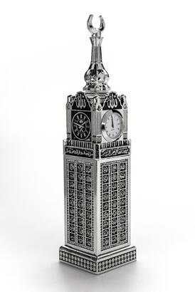İhvan - Saatli Kabe Zemzem Tower Minyatür Maketi Dini Hediyelik Biblo Gümüş Rengi