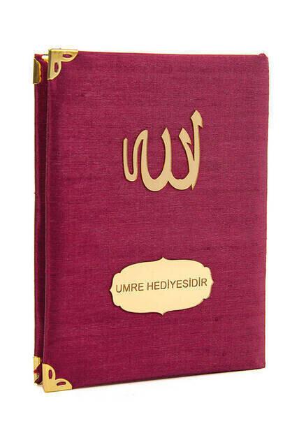 10 ADET - Şantuk Kumaş Kaplı Yasin Kitabı - Çanta Boy - İsme Özel Plakalı - Bordo Renk - İslami Hediyeler