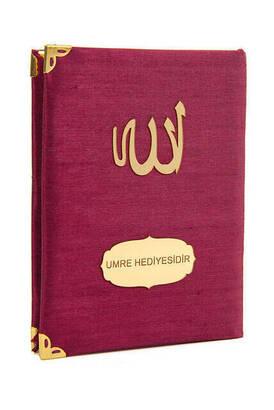 İhvan - 10 ADET - Şantuk Kumaş Kaplı Yasin Kitabı - Çanta Boy - İsme Özel Plakalı - Bordo Renk - İslami Hediyeler