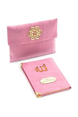 İhvan - Şantuk Kumaş Kaplı Yasin Kitabı - Çanta Boy - İsme Özel Plakalı - Keseli - Pembe Renk - Mevlid Hediyeliği