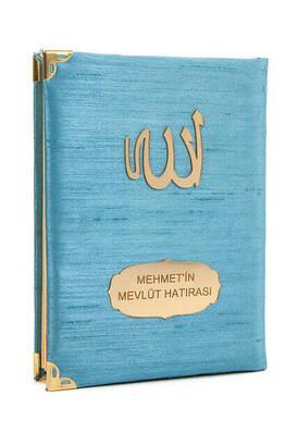 İhvan - 10 ADET - Şantuk Kumaş Kaplı Yasin Kitabı - Çanta Boy - İsme Özel Plakalı - Mavi Renk - İslami Hediyeler