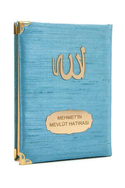 Şantuk Kumaş Kaplı Yasin Kitabı - Çanta Boy - İsme Özel Plakalı - Mavi Renk - İslami Hediyeler