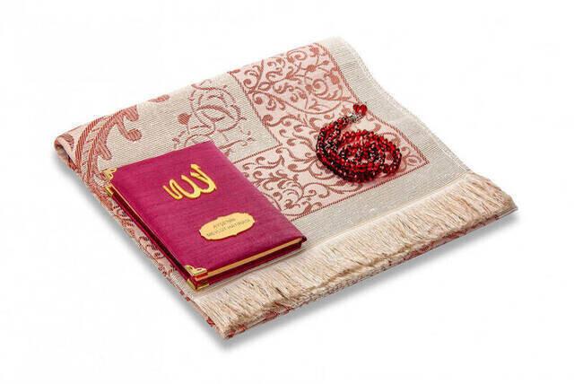 Şantuk Kumaş Kaplı Yasin Kitabı - Çanta Boy - İsme Özel Plakalı - Seccadeli - Tesbihli - Keseli - Bordo Renk - Mevlid Hediyeliği