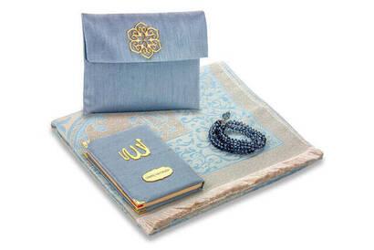 İhvan - Şantuk Kumaş Kaplı Yasin Kitabı - Çanta Boy - İsme Özel Plakalı - Seccadeli - Tesbihli - Keseli - Gri Renk - Mevlid Hediyeliği