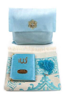 İhvan - Şantuk Kumaş Kaplı Yasin Kitabı - Çanta Boy - İsme Özel Plakalı - Seccadeli - Tesbihli - Keseli - Mavi Renk - Cemiyet Hediyeliği