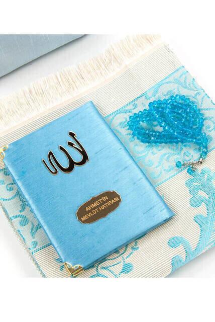 Şantuk Kumaş Kaplı Yasin Kitabı - Çanta Boy - İsme Özel Plakalı - Seccadeli - Tesbihli - Keseli - Mavi Renk - Cemiyet Hediyeliği