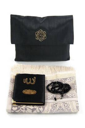 İhvan - Şantuk Kumaş Kaplı Yasin Kitabı - Çanta Boy - İsme Özel Plakalı - Seccadeli - Tesbihli - Keseli - Siyah Renk - Cemiyet Hediyeliği