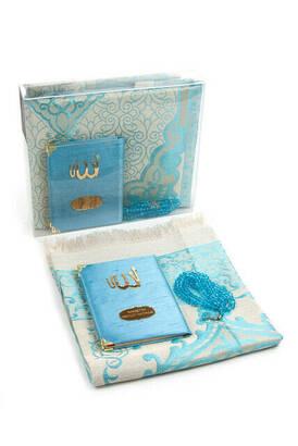 İhvan - Şantuk Kumaş Kaplı Yasin Kitabı - Çanta Boy - İsme Özel Plakalı - Seccadeli - Tesbihli - Kutulu - Mavi Renk - Mevlid Hediyeliği