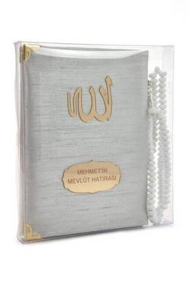 İhvan - Şantuk Kumaş Kaplı Yasin Kitabı - Çanta Boy - İsme Özel Plakalı - Tesbihli - Kutulu - Gri Renk - İslami Hediyeler
