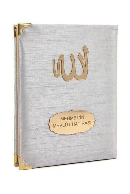 Santuk Fabric Coated Yasin Book - Bag Boy - Name Special Plate - Gray Color - Islamic Gifts