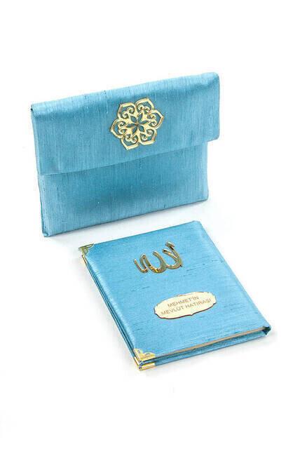 Santuk Fabric Coated Yasin Book - Bag Boy - Name Special Plate - Marsupeli - Blue Color - Mevlid Gift