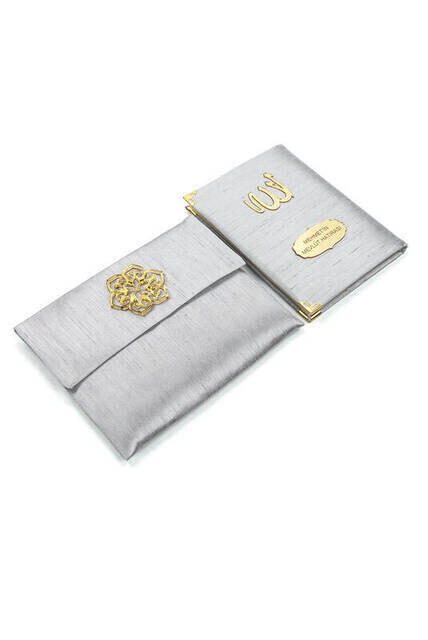 Santuk Fabric Coated Yasin Book - Bag Boy - Name Special Plate - Marsupeli - Gray Color - Mevlid Gift