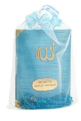 İhvan - Santuk Fabric Coated Yasin Book - Bag Boy - Name Special Plate - Rosary - Marsupeli - Blue Color - Islamic Gifts