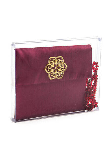 Santuk Fabric Coated Yasin Book - Bag Boy - Name Special Plate - Rosary - Marsupeli - Boxed - Burgundy Color - Community Gift