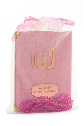 İhvan - Santuk Fabric Coated Yasin Book - Bag Boy - Name Special Plate - Rosary - Marsupeli - Pink Color - Islamic Gifts