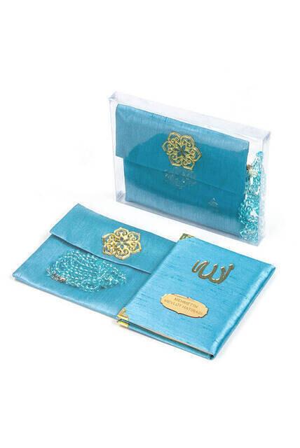 Santuk Fabric Coated Yasin Book - Bag Boy - Name Special Plate - Rosary - Marsupian - Boxed - Blue Color - Community Gift