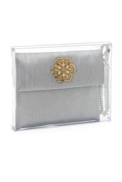 Santuk Fabric Coated Yasin Book - Bag Boy - Name Special Plate - Rosary - Marsupian - Boxed - Gray Color - Community Gift