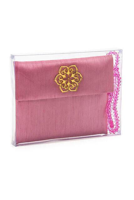 Santuk Fabric Coated Yasin Book - Bag Boy - Name Special Plate - Rosary - Marsupian - Boxed - Pink Color - Community Gift