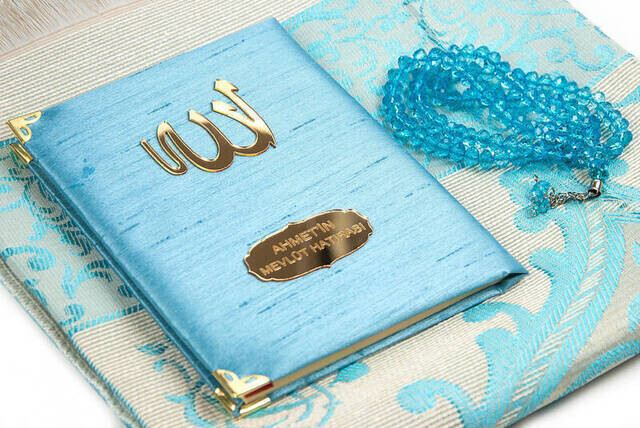 Santuk Fabric Coated Yasin Book - Bag Boy - Name Special Plate - Seccadeli - Rosary - Boxed - Blue Color - Mevlid Gift