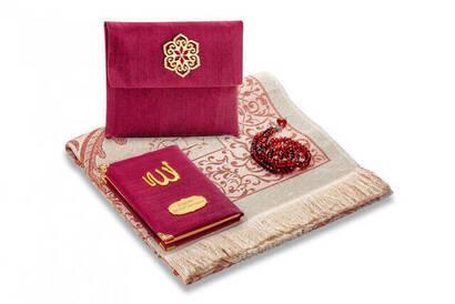 İhvan - Santuk Fabric Coated Yasin Book - Bag Boy - Name Special Plate - Seccadeli - Rosary - Keseli - Bordeaux Color - Mevlid Gift