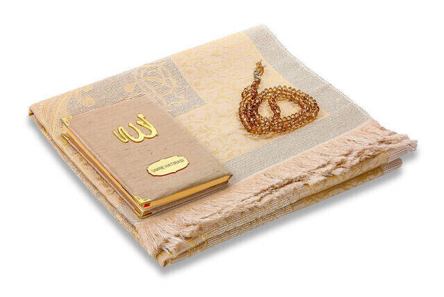 Santuk Fabric Coated Yasin Book - Bag Boy - Name Special Plate - Seccadeli - Rosary - Keseli - Cream Color - Mevlid Gift