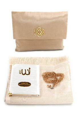 İhvan - Santuk Fabric Coated Yasin Book - Bag Boy - Name Special Plate - Seccadeli - Rosary - Keseli - Gold Color - Community Gift