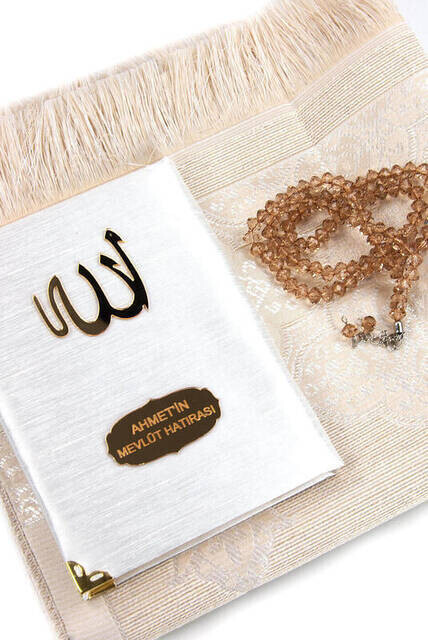 Santuk Fabric Coated Yasin Book - Bag Boy - Name Special Plate - Seccadeli - Rosary - Keseli - Gold Color - Community Gift