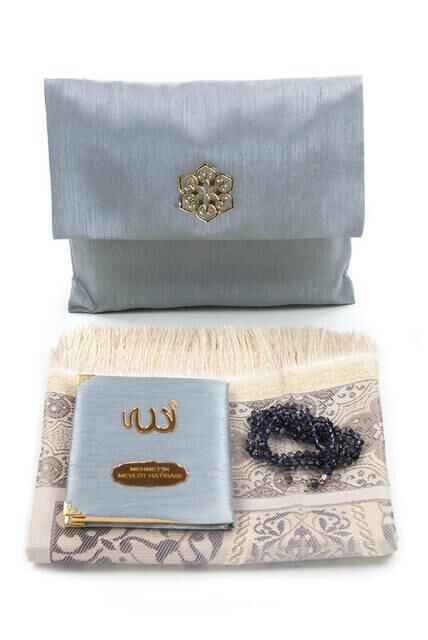 Santuk Fabric Coated Yasin Book - Bag Boy - Name Special Plate - Seccadeli - Rosary - Keseli - Gray Color - Community Gift