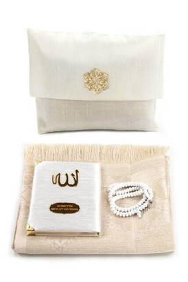 İhvan - Santuk Fabric Coated Yasin Book - Bag Boy - Name Special Plate - Seccadeli - Rosary - Keseli - White Color - Community Gift