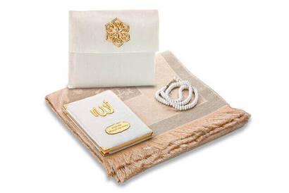 İhvan - Santuk Fabric Coated Yasin Book - Bag Boy - Name Special Plate - Seccadeli - Rosary - Keseli - White Color - Mevlid Gift