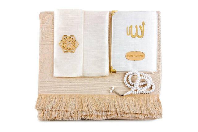 Santuk Fabric Coated Yasin Book - Bag Boy - Name Special Plate - Seccadeli - Rosary - Keseli - White Color - Mevlid Gift