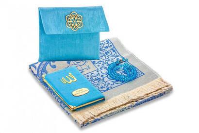 İhvan - Santuk Fabric Coated Yasin Book - Bag Boy - Name Special Plate - Seccadeli - Rosary - Marsupeli - Blue Color - Mevlid Gift