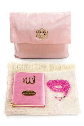 İhvan - Santuk Fabric Coated Yasin Book - Bag Boy - Name Special Plate - Seccadeli - Rosary - Marsupeli - Pink Color - Community Gift