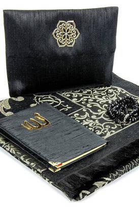 İhvan - Seccade Seti - Kadife Kaplı Yasin - Seccade - Tesbih - Siyah Renk