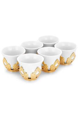 İhvan - Sena Porselenli Mırra Gold Renk Kahve Fincanı 6'lı
